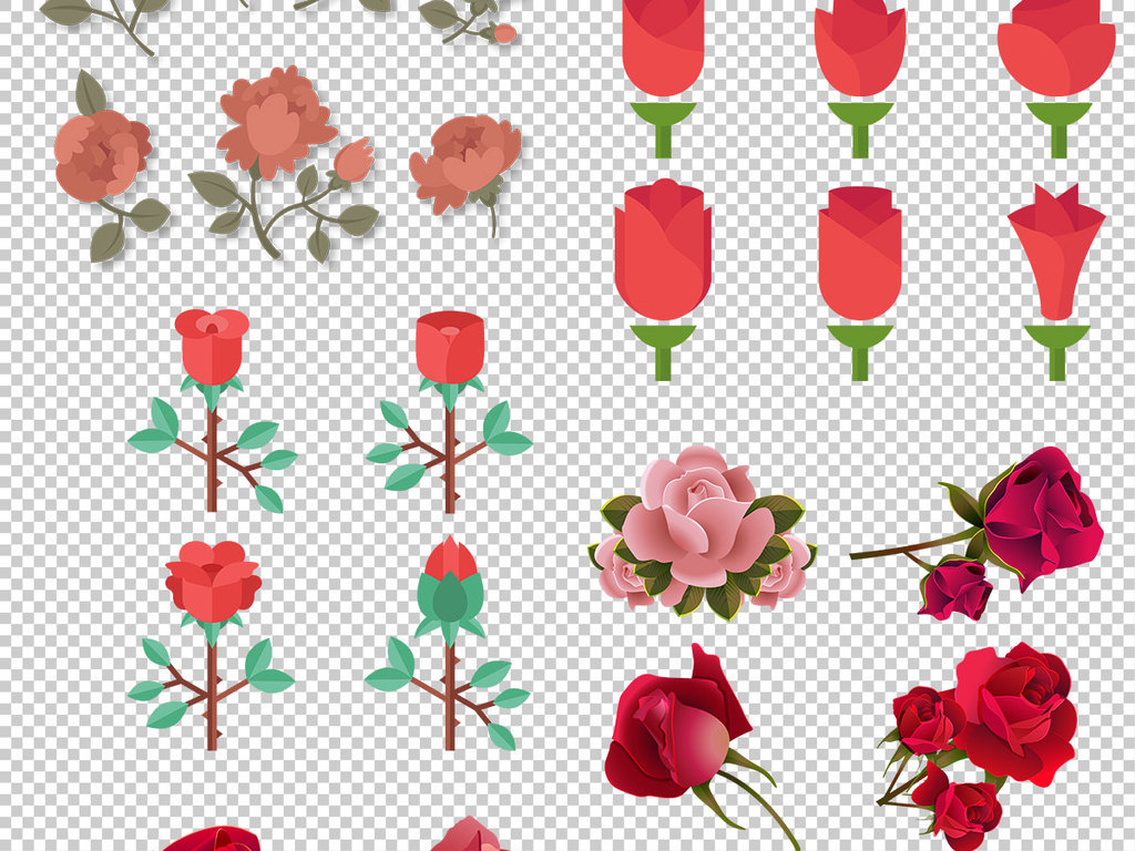 psd)手绘玫瑰素材                                  卡通玫瑰玫瑰花
