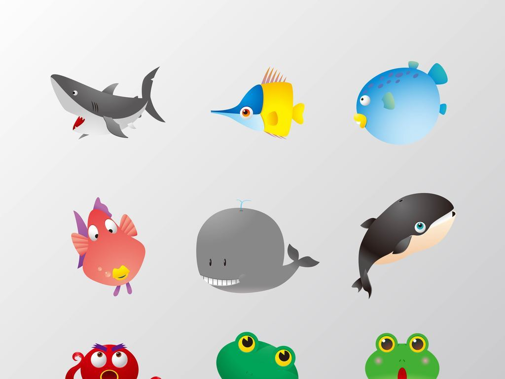 鲨鱼虾矢量                                  彩色