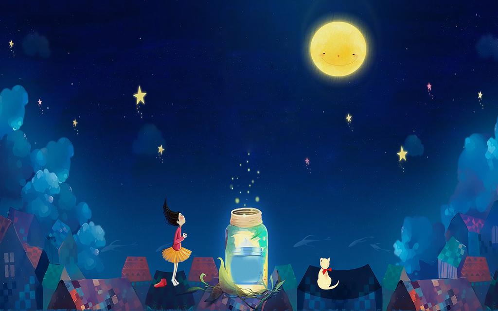 卡通儿童房星星月亮女孩