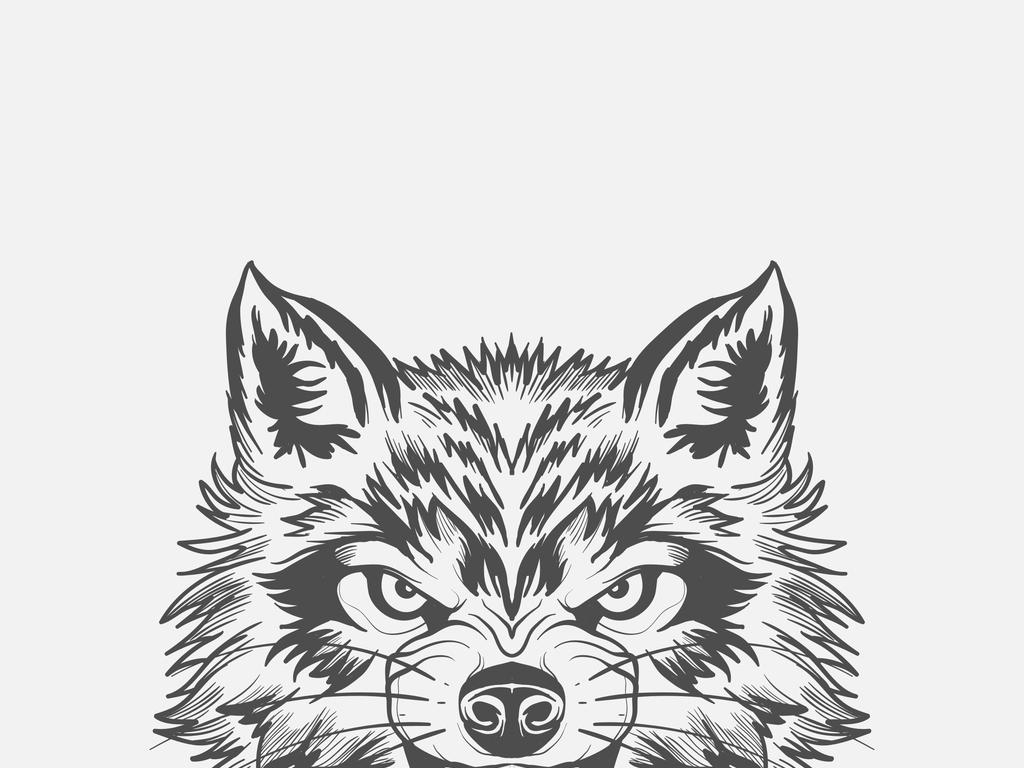 手绘黑白黑白动物动物黑白动物狼中国元素元素生活