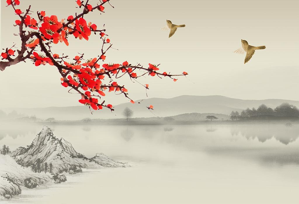 新中式                                  鸟水墨图片