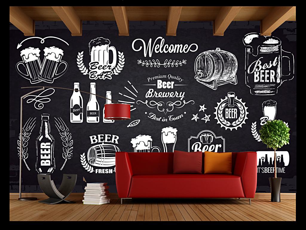 手绘啤酒个性酒吧咖啡厅背景墙形象墙图片设计素材_(.