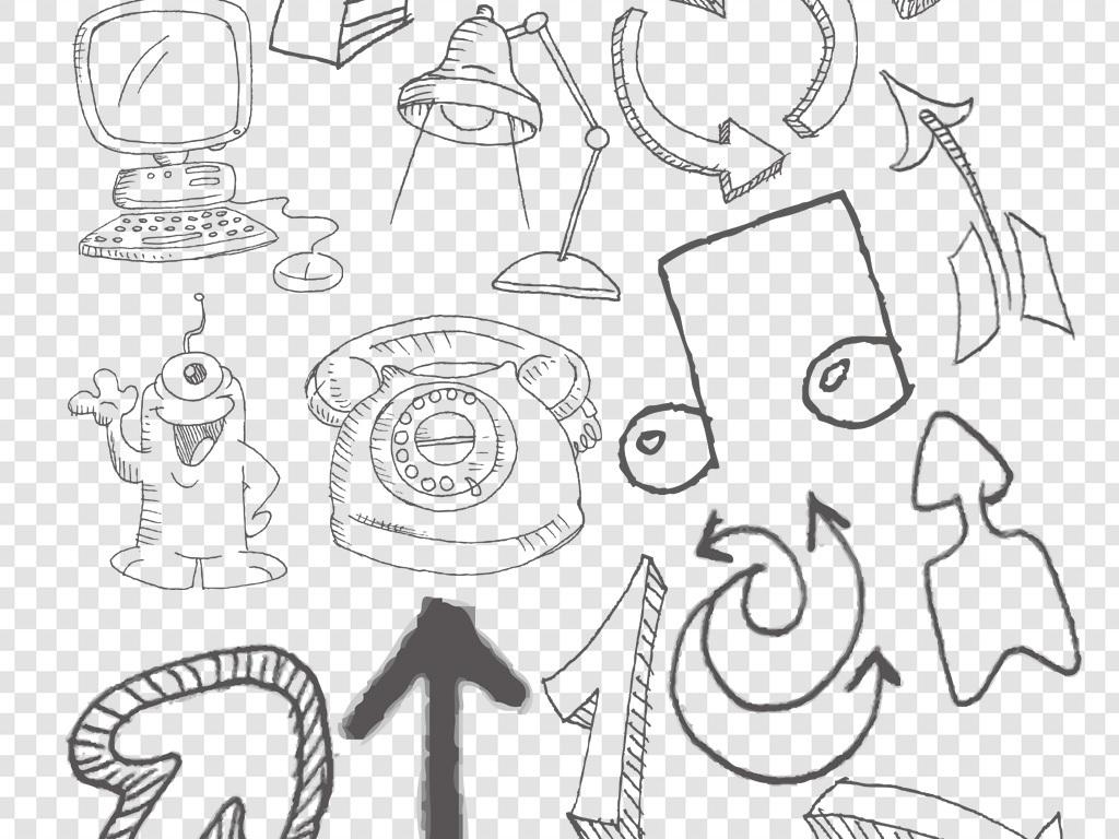 卡通手绘线稿箭头生活用品png免扣素材