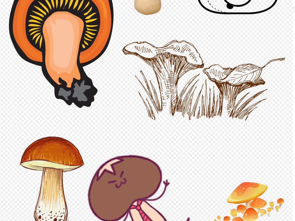 卡通蘑菇手绘菌菇儿童幼儿园素材