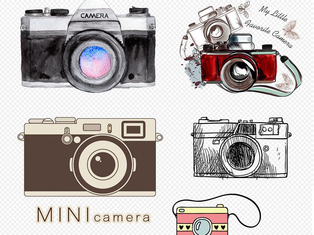 镜头相机的卡通图片手绘相机图标标志