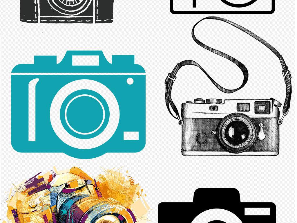 镜头相机的卡通图片手绘相机图标标志单反数码相机尼康复古照相