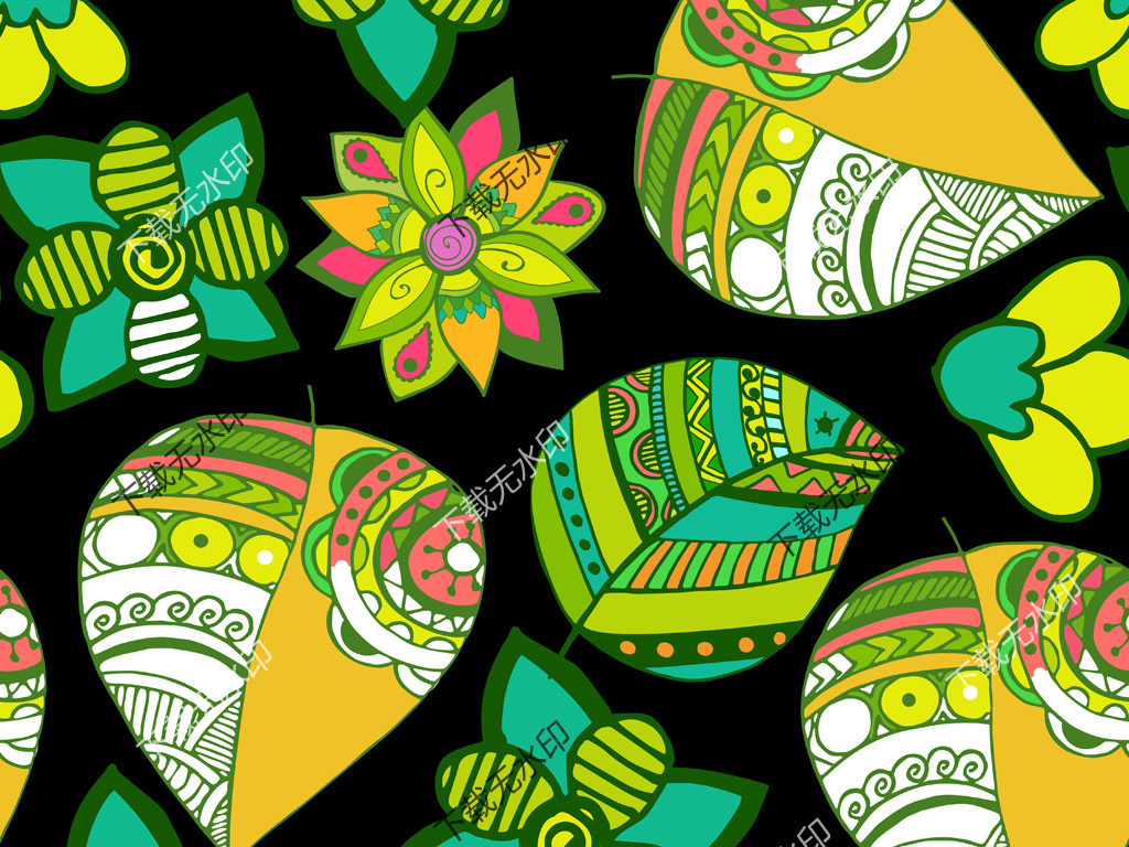 手绘几何花纹图案数码印花服装面料花型设计
