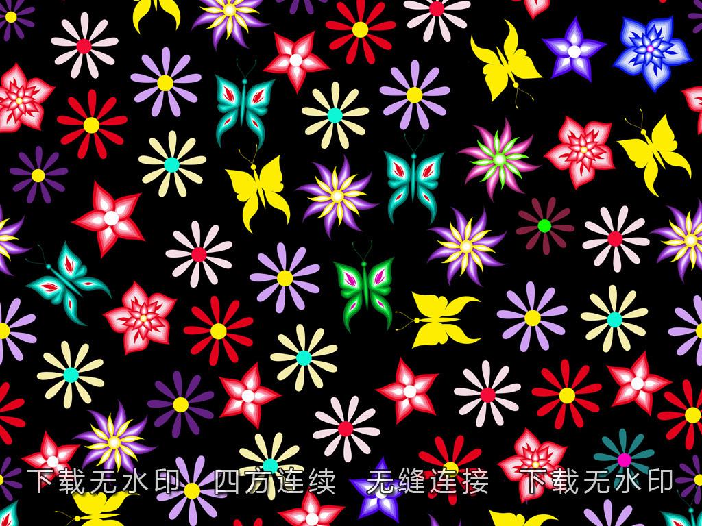 手绘花卉几何图案碎花数码印花面料花型设计
