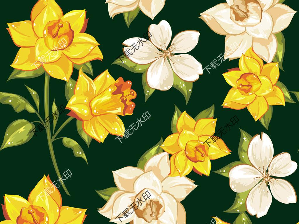 手绘矢量花卉图案数码印花服装面料花型设计