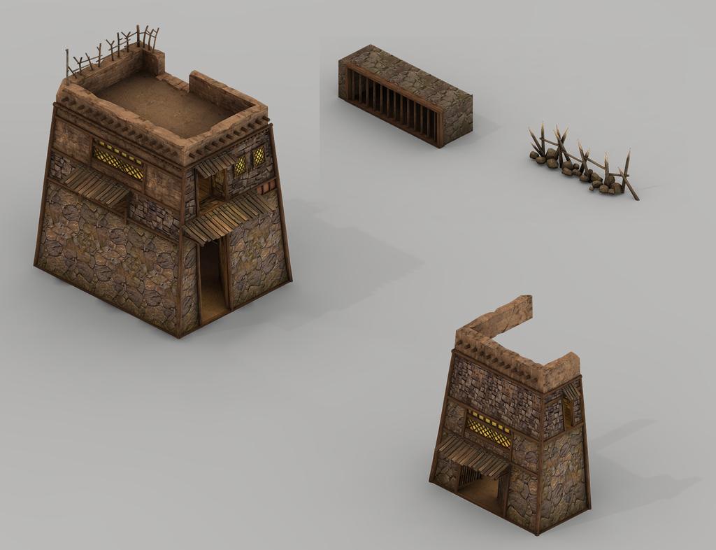 3d部落土楼建筑防御塔哨塔战壕模型