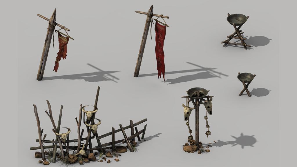 3d部落大火盆木栏杆兽骨古代旗杆模型
