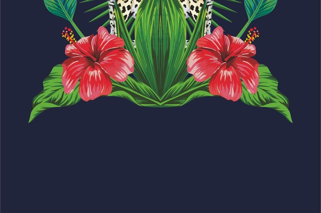 植物花卉花草叶子豹子动物图案双豹t恤图案