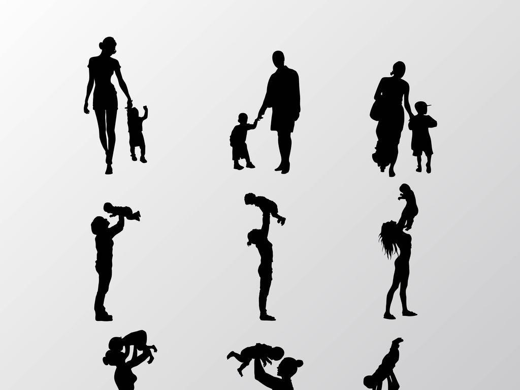 多款黑色手绘的大人和小孩矢量图