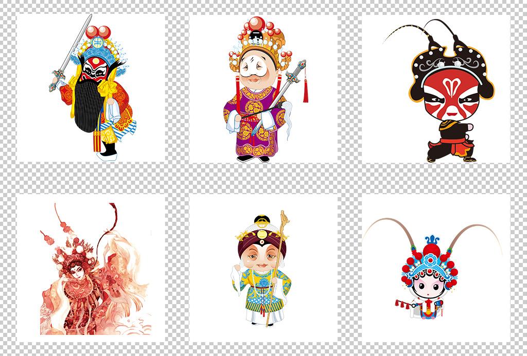 国粹京剧戏剧卡通人物花旦小生海报设计素材图片_模板