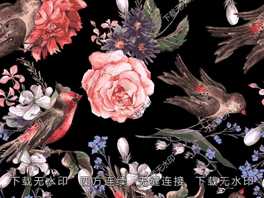 手绘花鸟图案麻雀花卉图案数码印花服装印花