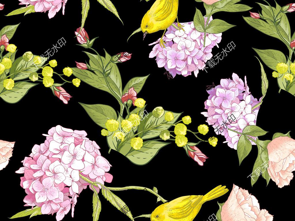 植物花卉图案 > 数码印花图案手绘花鸟服装面料花型设计  素材图片