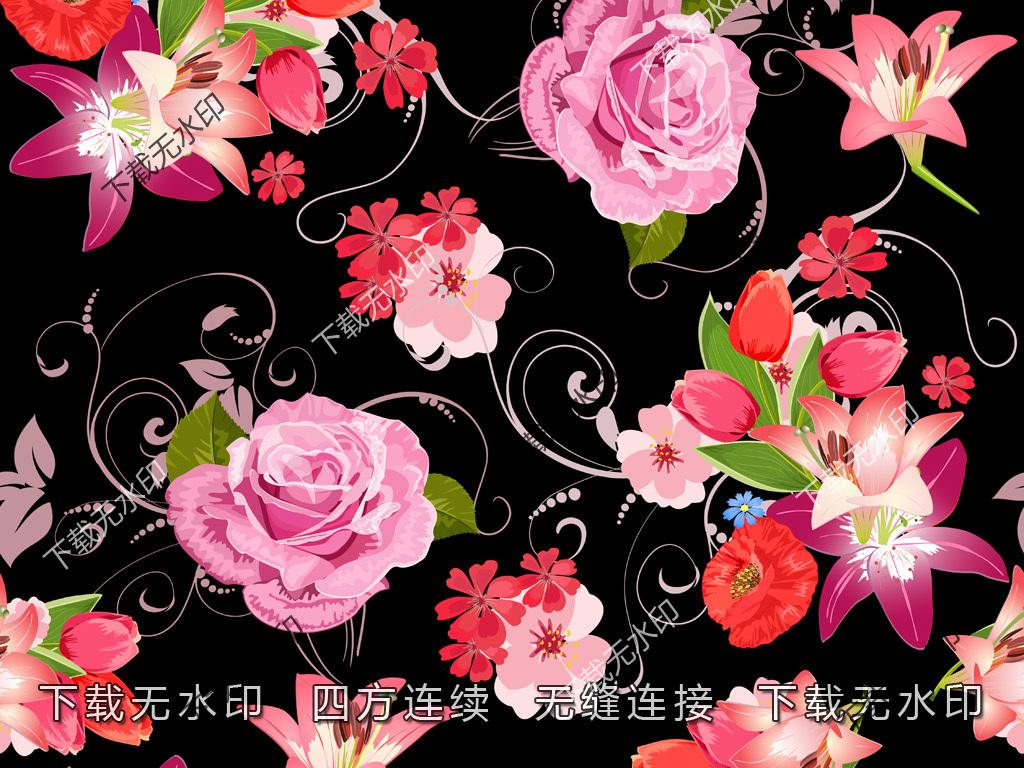 时尚手绘玫瑰花数码印花服装面料花型设计