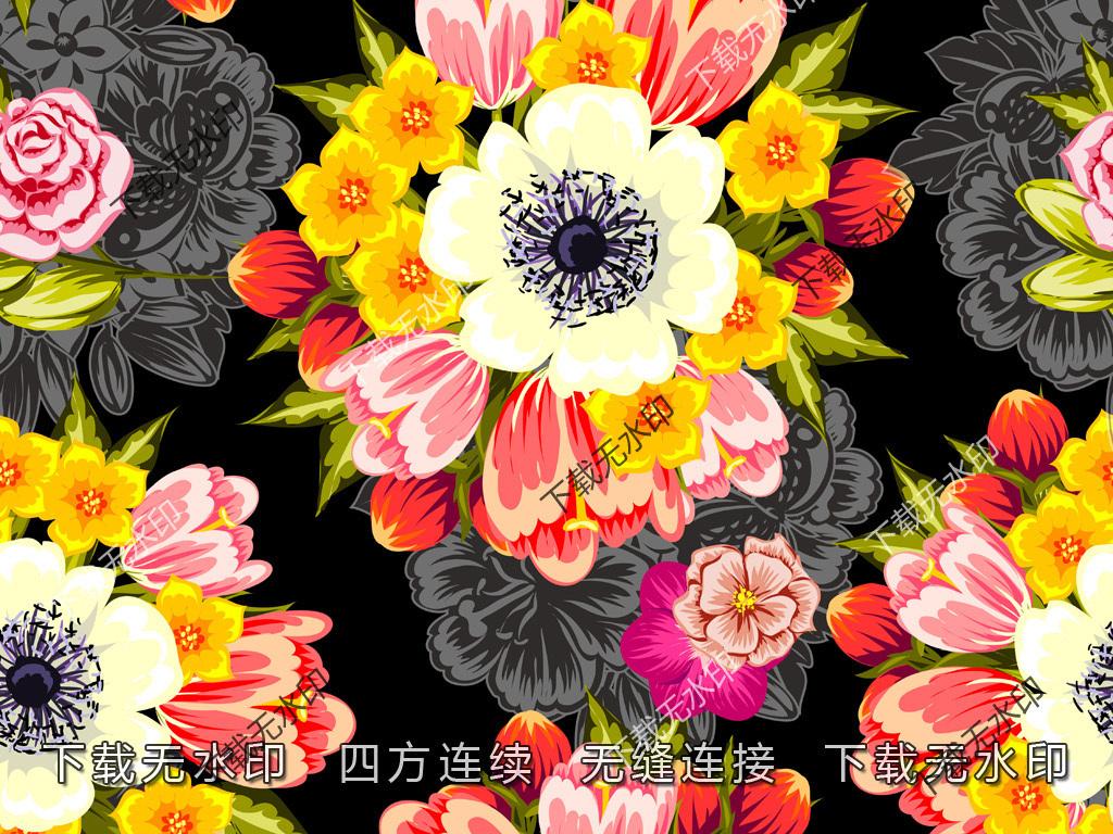 手绘花卉玫瑰图案数码印花服装面料花型设计
