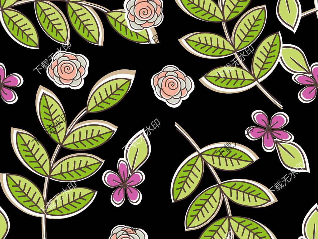 手绘树叶花卉图案数码印花服装面料花型设计