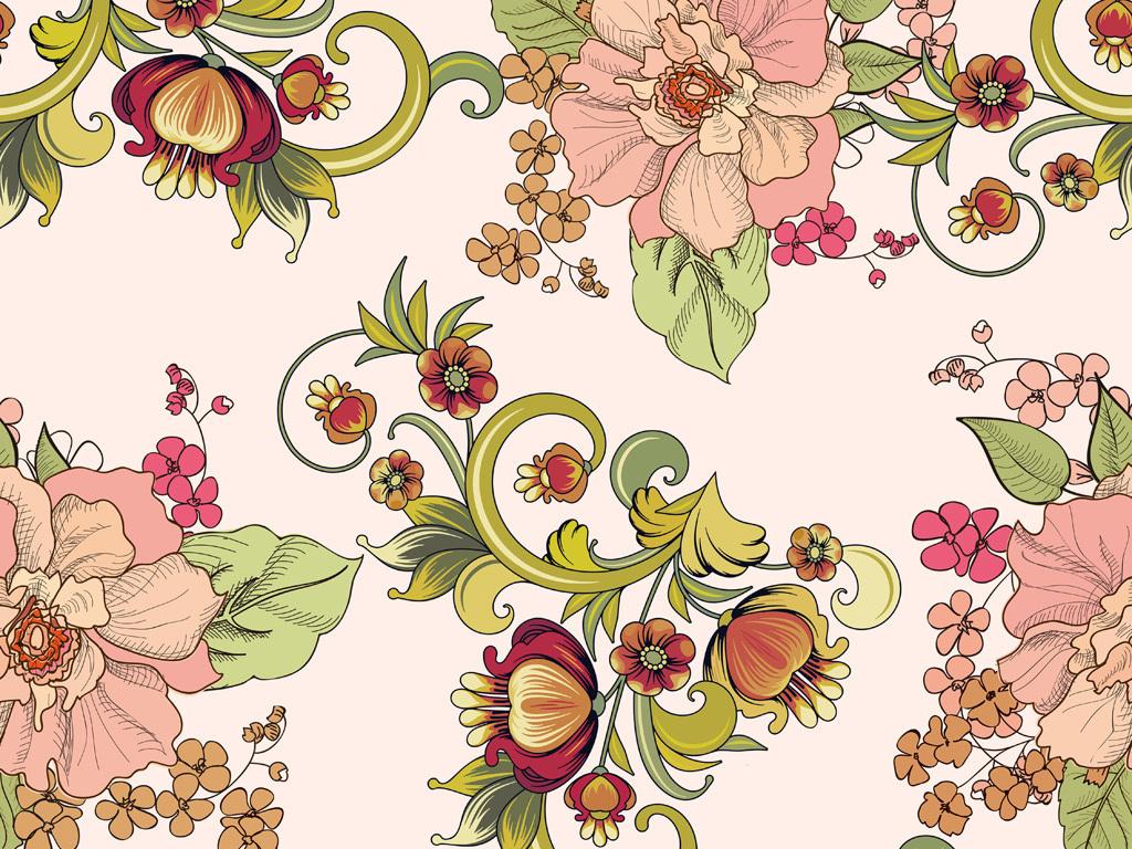丝巾图案花纹图案花卉花纹手绘花卉花型印花数码花型印花花型设计手绘