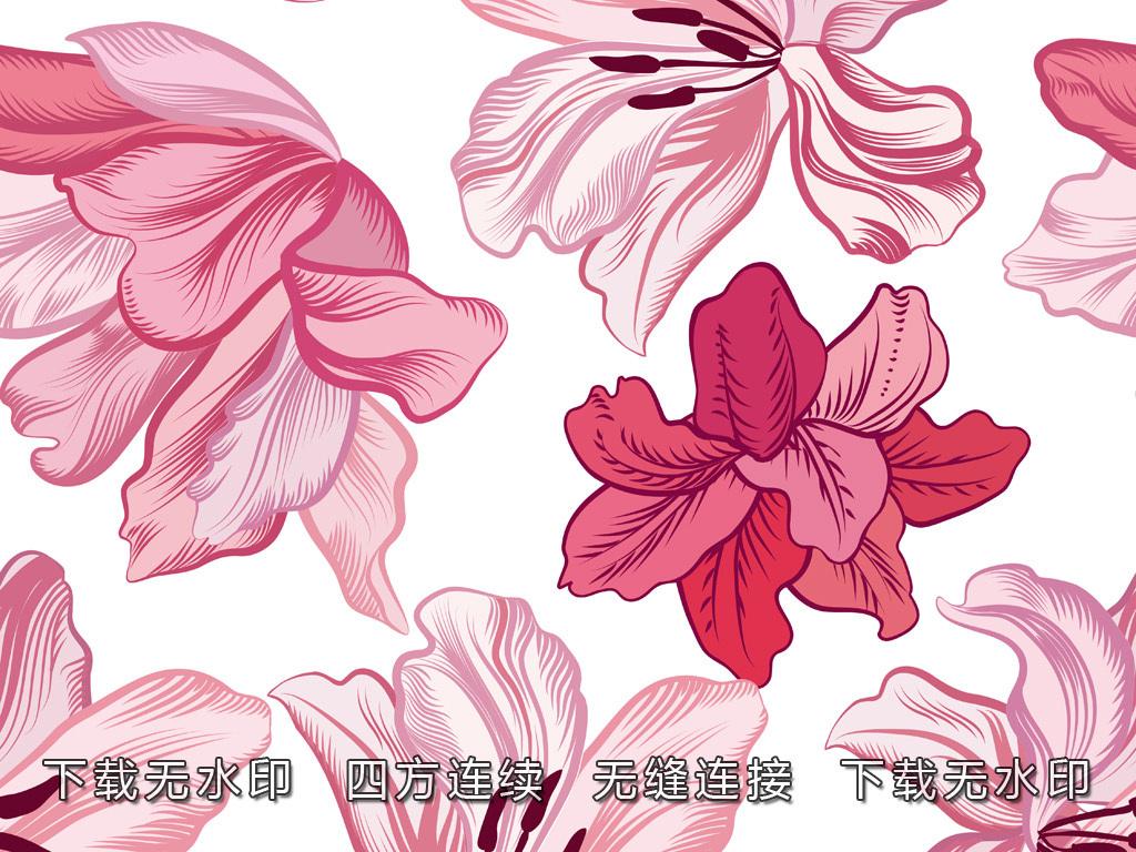 时尚手绘百合花图案数码印花服装花型设计