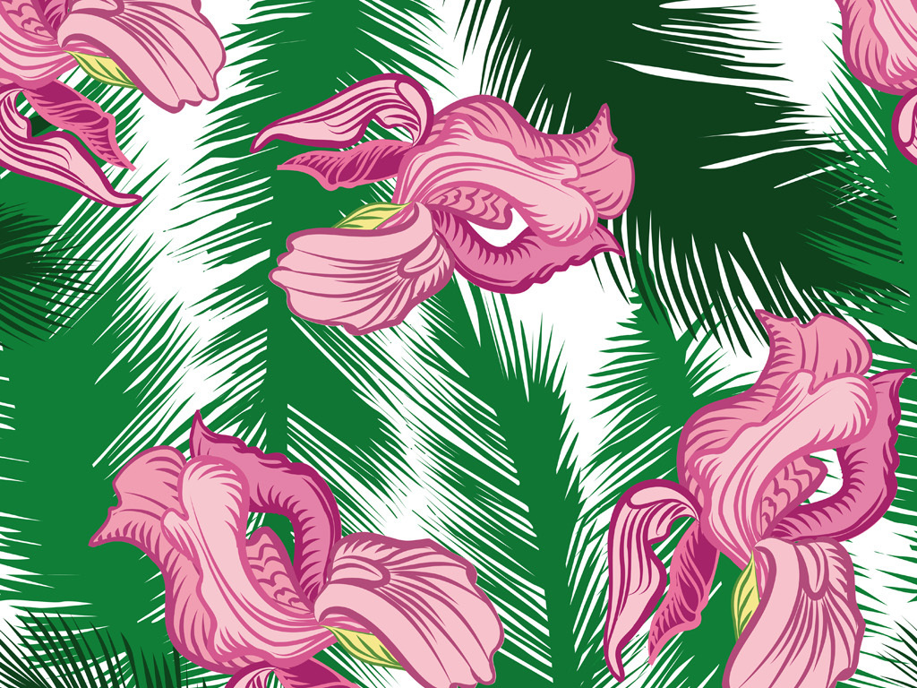 植物花卉图案 > 手绘树叶花卉花纹服装面料花型设计数码印花  手绘