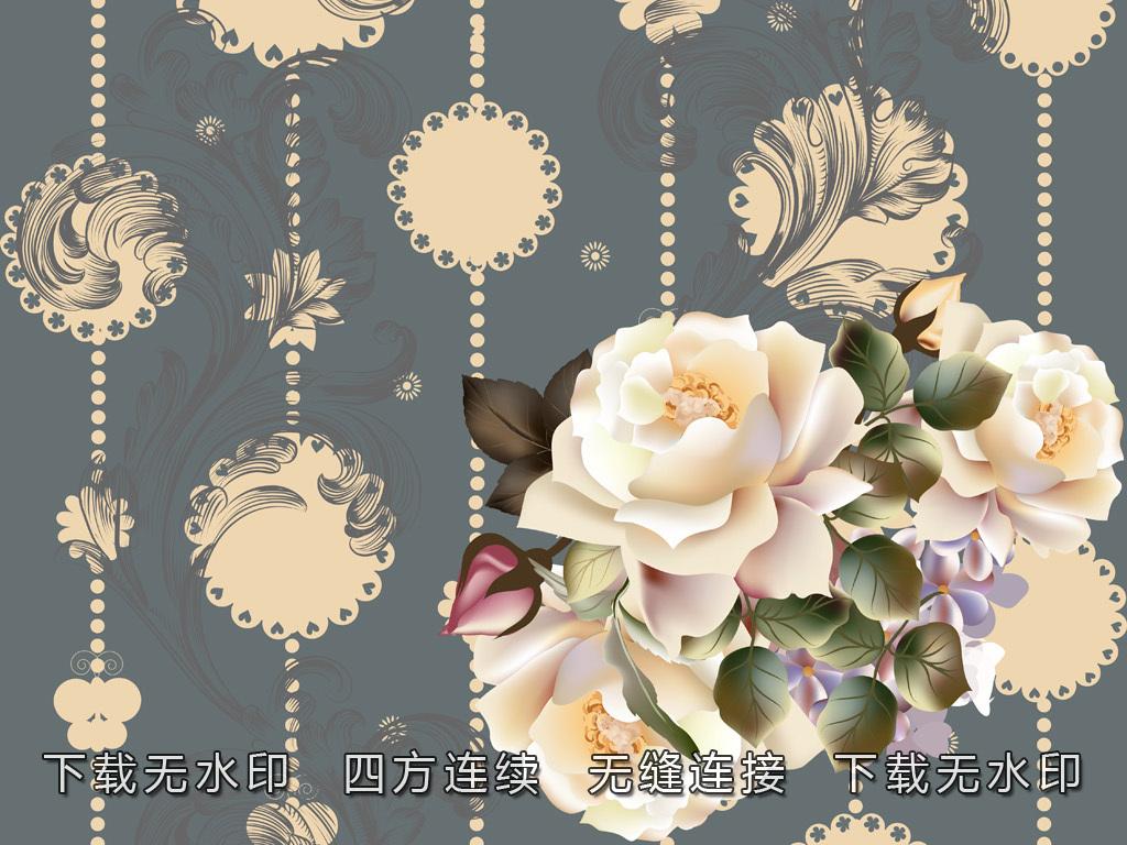 手绘花卉花纹窗帘图案数码印花面料花型设计