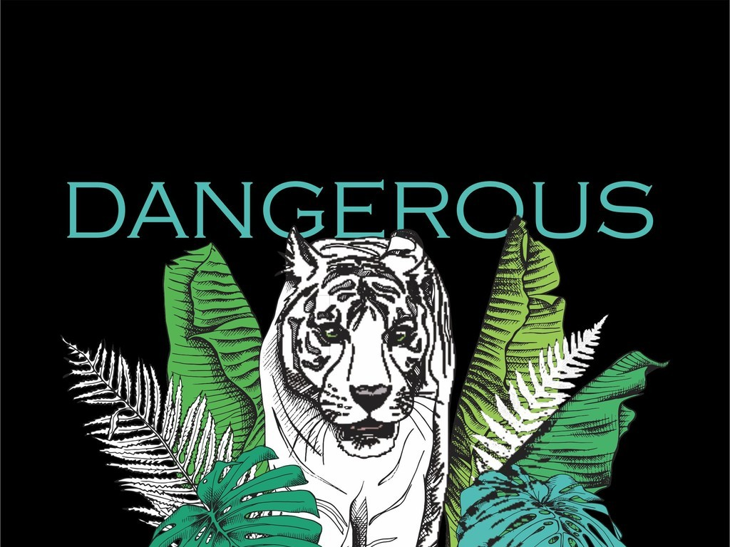 产品图案设计 t恤图案 动物图案 > 植物花卉艺术字字母手绘老虎图案