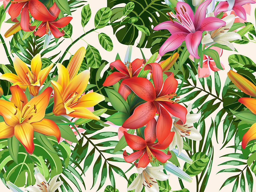 时尚手绘花卉花纹服装面料花型设计数码印花 位图, rgb格式高清大图