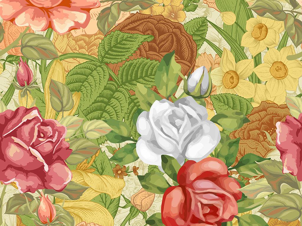 手绘玫瑰花卉花型设计数码印花服装面料花型