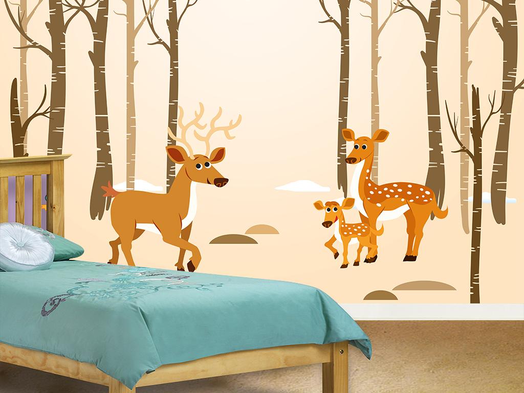 手绘树林小鹿儿童房背景墙