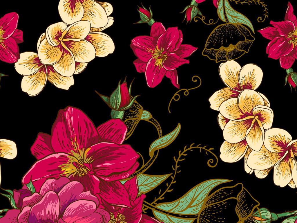 手绘花卉花纹图案数码印花服装面料花型设计