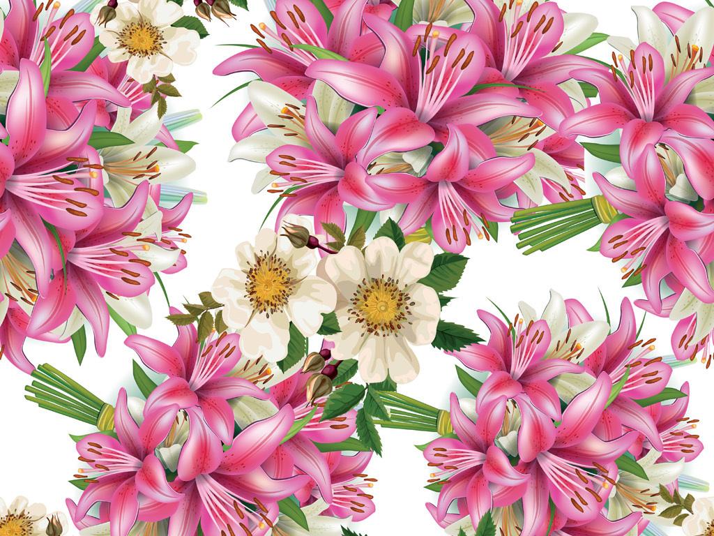 手绘百合花卉花型图案数码印花服装花型设计