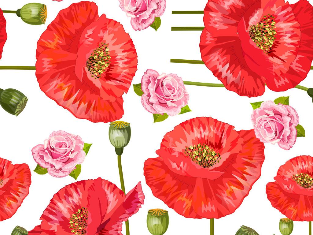 手绘花卉花型图案数码印花服装面料花型设计