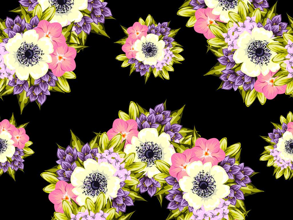 手绘花卉花型花纹图案数码印花服装花型设计