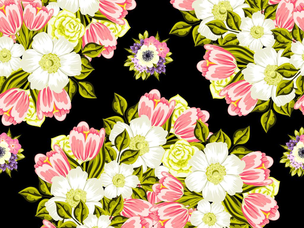 手绘玫瑰花卉花型图案数码印花服装花型设计