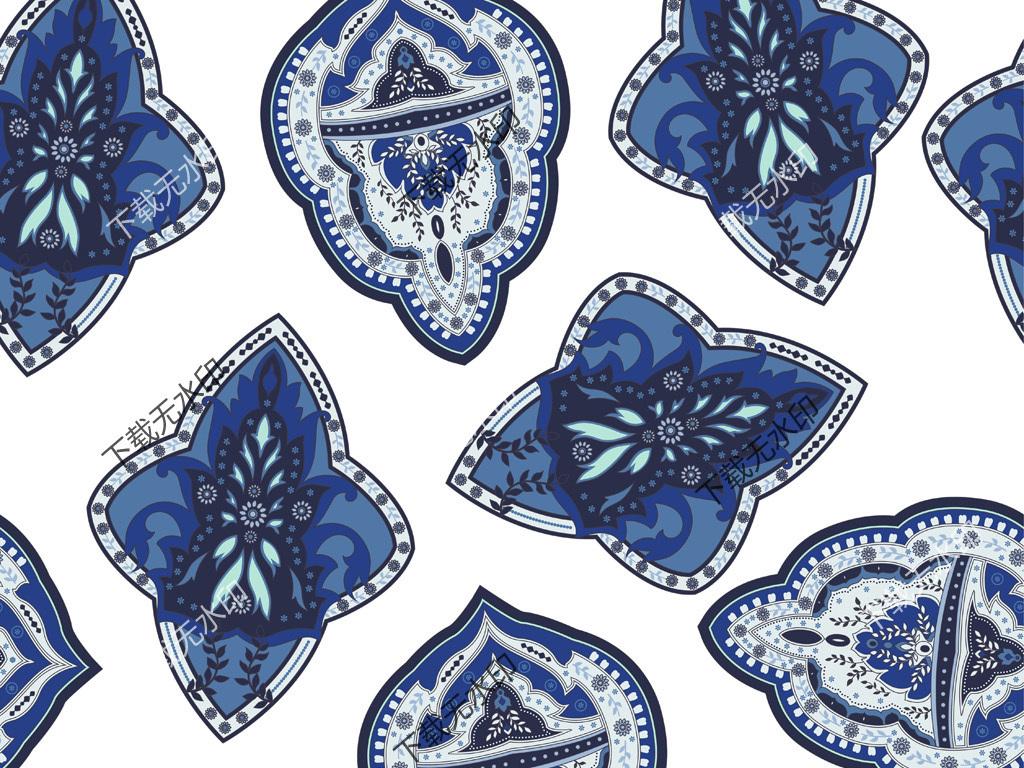 手绘几何花纹数码印花服装面料花型设计