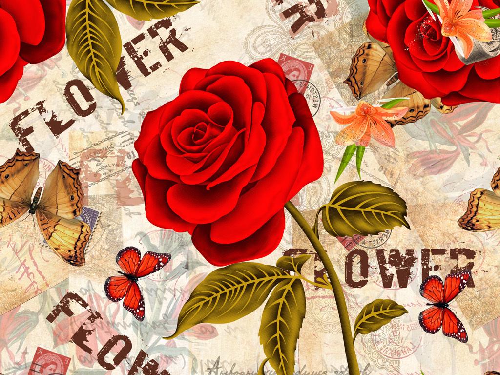 手绘花卉蝴蝶玫瑰花图案数码印花服装花型