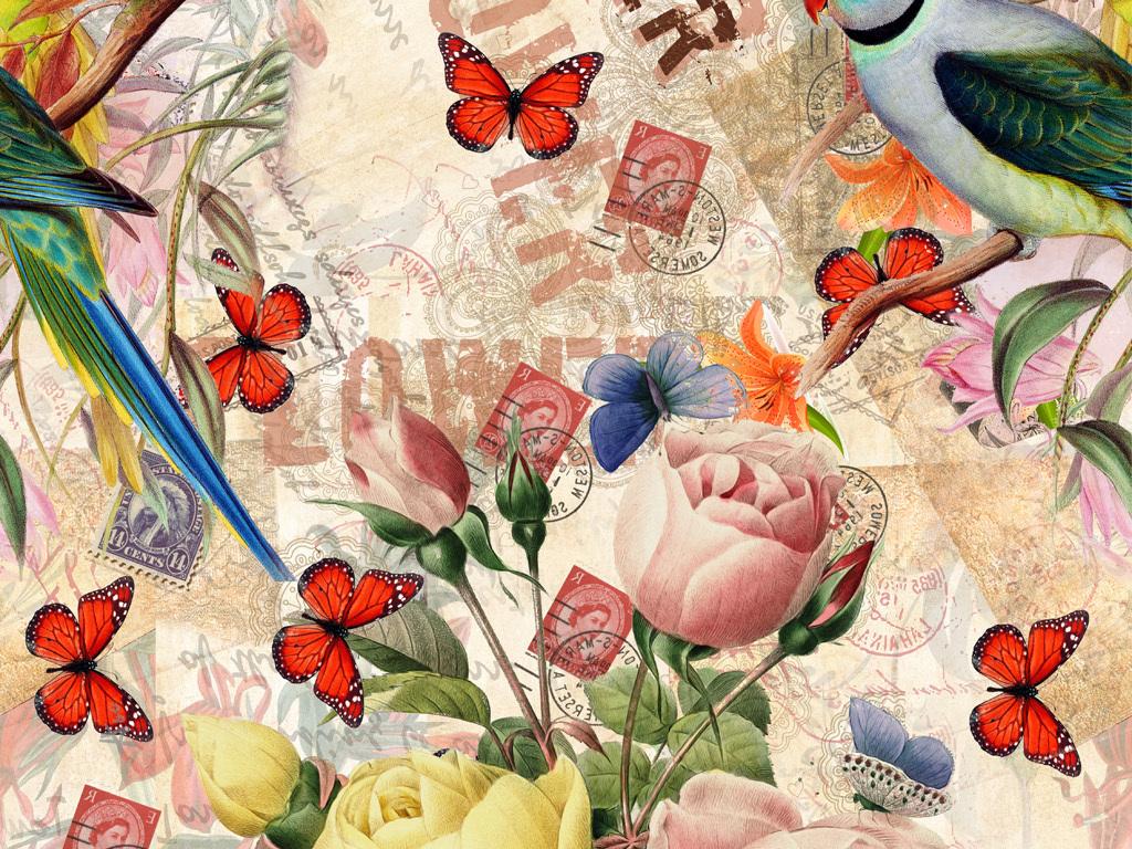 手绘玫瑰花蝴蝶鹦鹉图案数码印花服装花型
