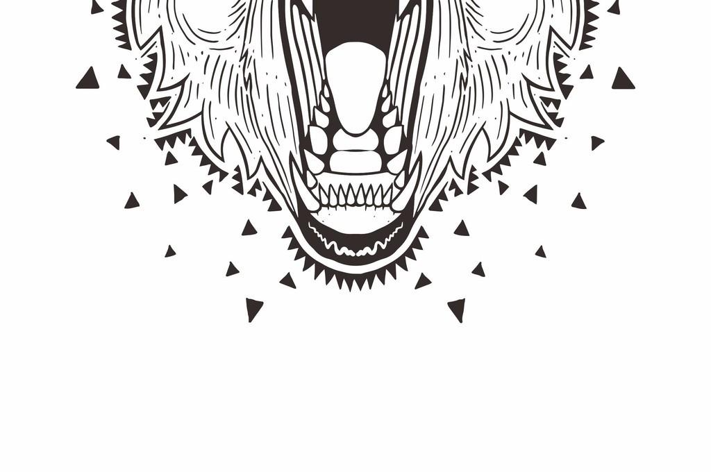 几何无规则图形手绘卡通熊动物图案潮牌t恤