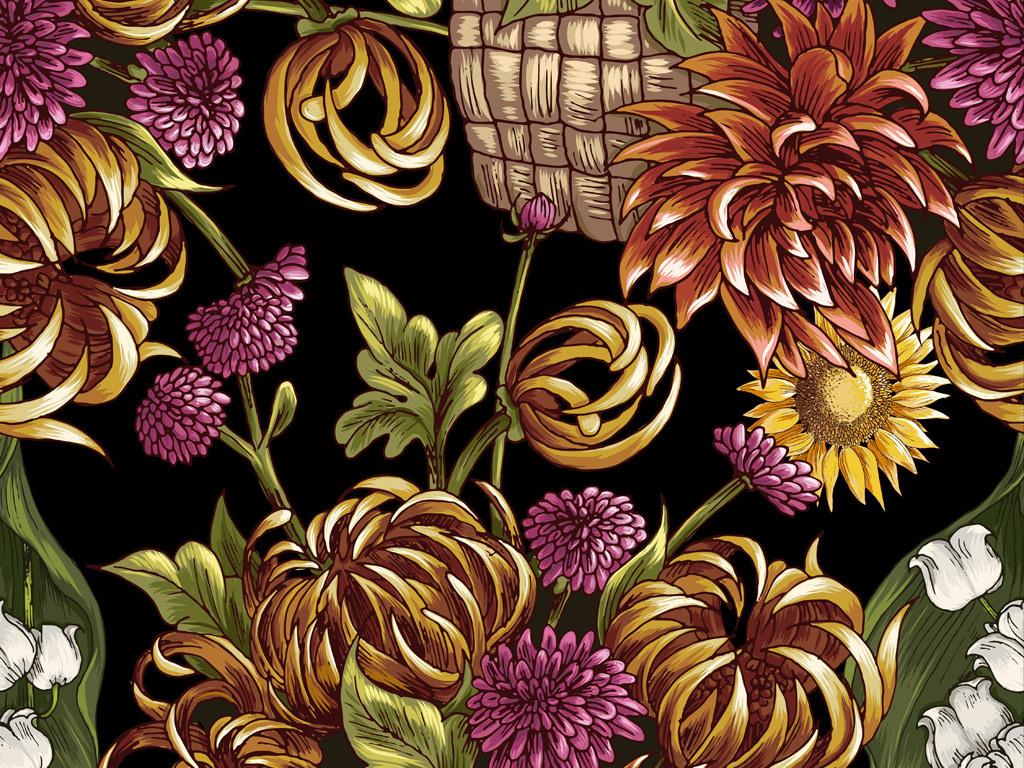 手绘花篮花卉花型数码印花服装面料花型设计