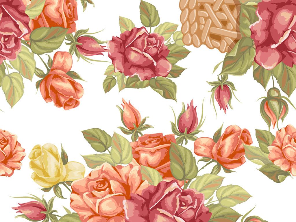 手绘花卉图案玫瑰花型服装面料数码印花设计