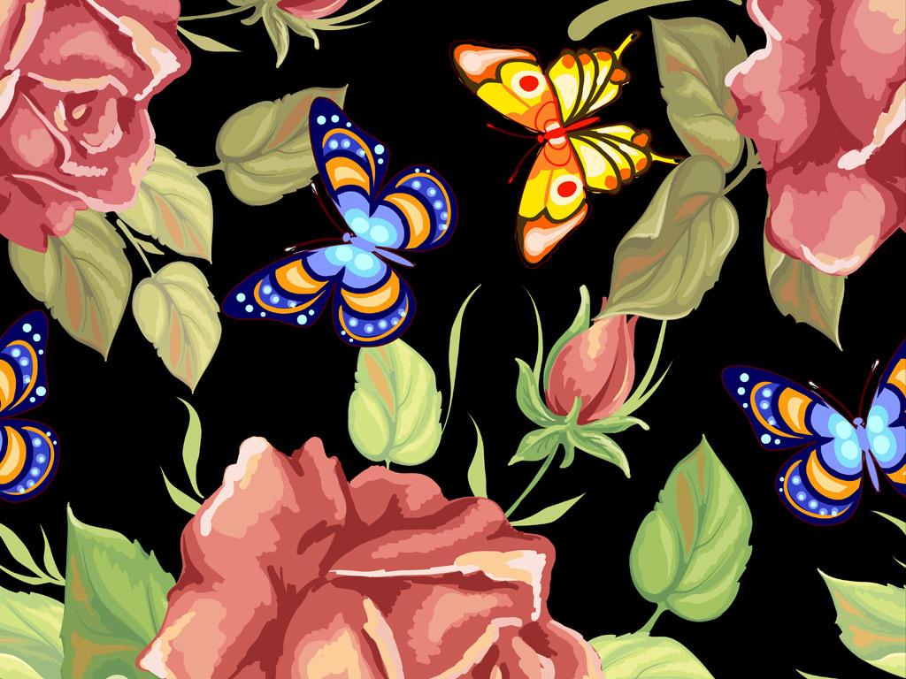 手绘玫瑰花蝴蝶图案数码印花服装花型设计