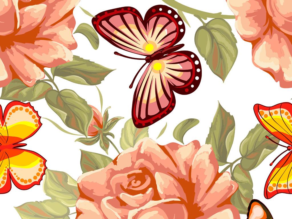 产品图案设计 服装/配饰印花图案 植物花卉图案 > 手绘玫瑰花蝴蝶图案