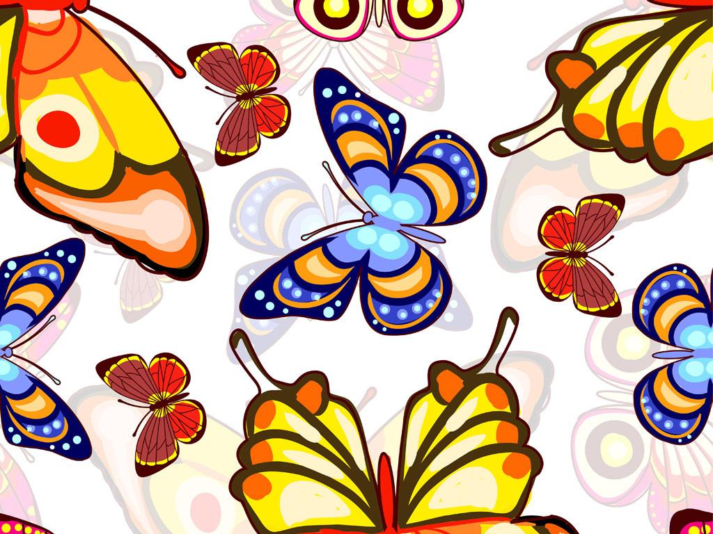 手绘矢量彩色蝴蝶图案数码印花服装面料花型