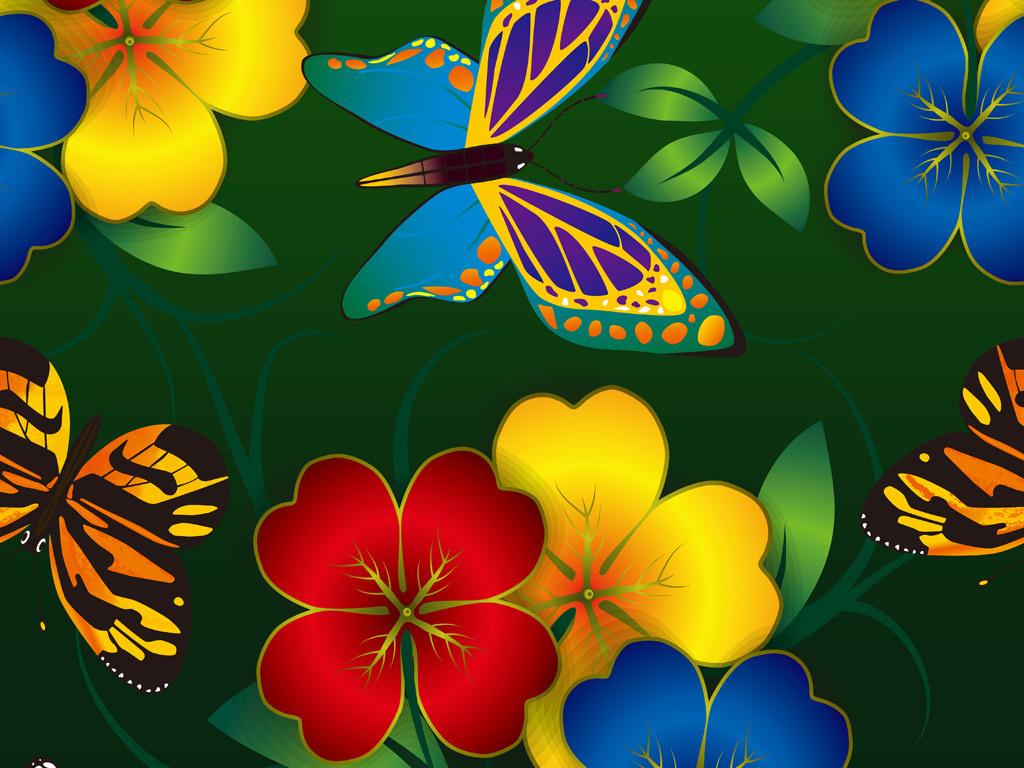 手绘花卉花纹蝴蝶图案数码印花服装面料花型