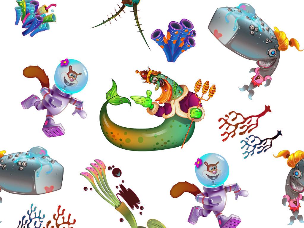 产品图案设计 服装/配饰印花图案 动物图案 > 海洋动物植物图案  版权