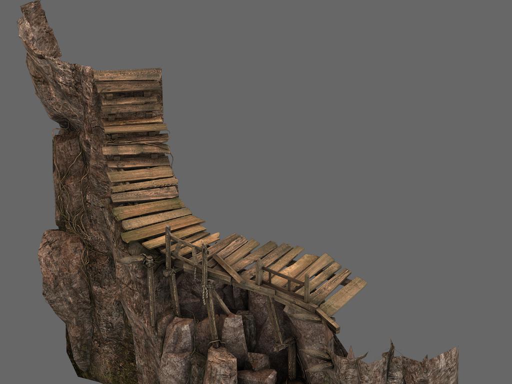 悬崖峭壁山壁木板路山体岩石石头模型