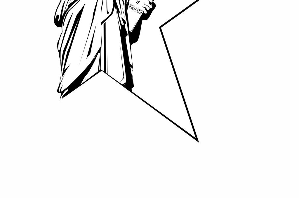自由女神像简笔画手绘-象性几何插画