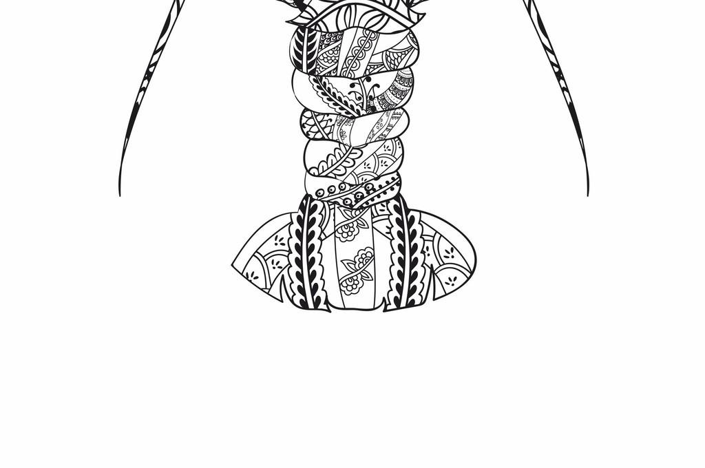 创意手绘线稿鱼类龙虾动物t恤ai印花图案